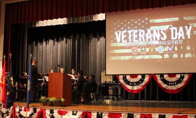 Westside Band plays Yankee Doodle in honoring the rietired Veterans. In the audtiorium of WHS. -Nov.11,2015