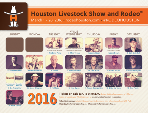 The schedule for the 2016 Houston Rodeo, taking place March 1st to March 20th.