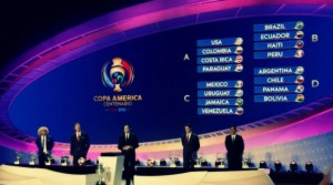 Pictured is the official FIFA sorting ceremony, listing each of the four groups. Source: Jorge Eduardo Vega, diariodigitalcolombiano.com