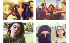 From top left: Selena Gomez, Sarah Hyland, Kylie Jenner and Vanessa Hudgens wearing bindis and headscarves. Bindis are staples of Hindu culture and headscarves are worn by Muslim women, particularly in the Middle East and South Asia.