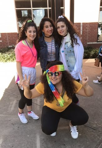Iman Koutani with her friends attending throwback day with Joanne Koutani to the left, Joelle Obeid in the middle and Vanessa Jaber.