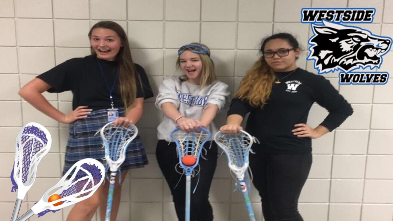 Girl Lacrosse team mebers! Left: Savannah Mulvey-White (12th), Middle: Syndey Dunlap (11th), Right: Sawyeh Khodabandehlou (12th)