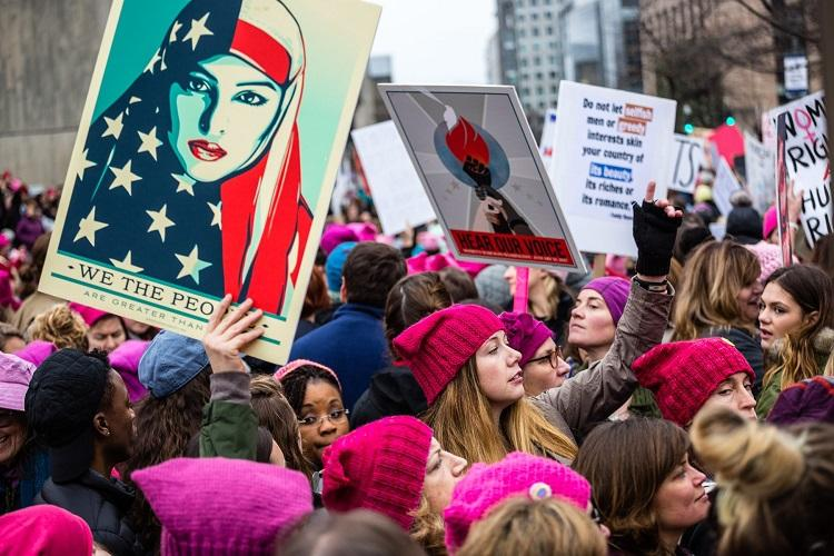 Demonstrators+at+Women%27s+March+in+Washington+DC%2C+January+21%2C+2017