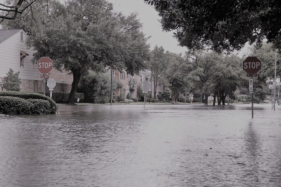 The morning of August 30, 2017, in the Galleria area of Houston, after Hurricane Harvey flooded the neighborhood.