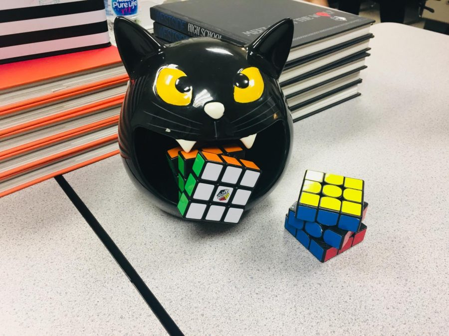 Two+Rubik%27s+cubes+on+display%2C+with+one+in+the+mouth+of+a+Halloween+decoration.