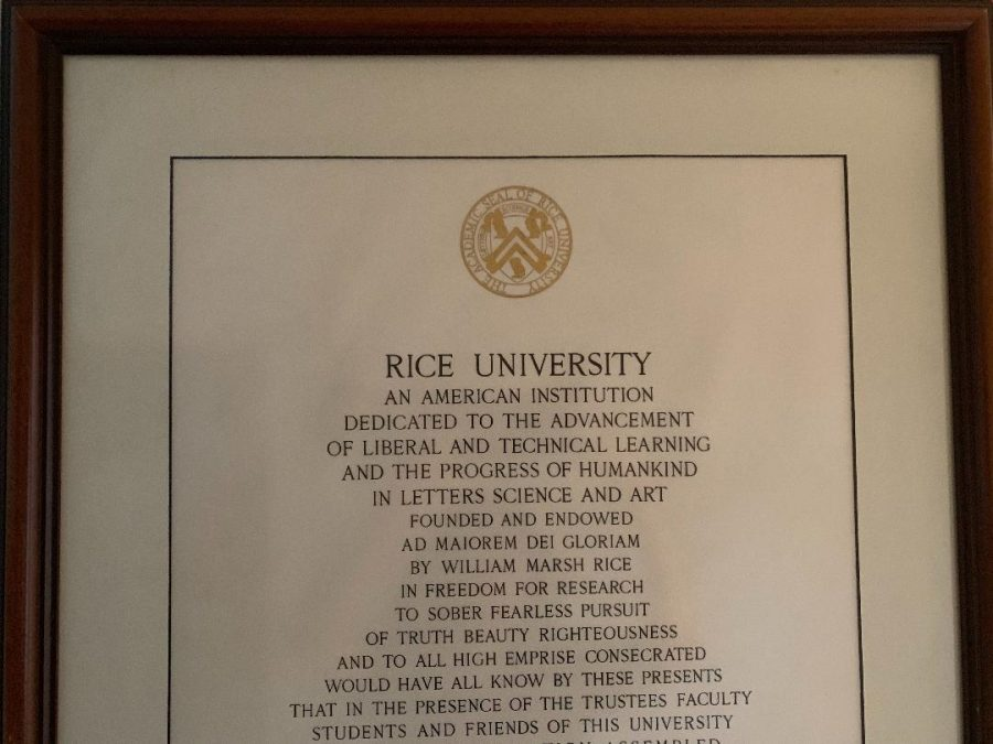 This depicts legacy as my dad went to rice and he wants his children to work hard and go there as well.
