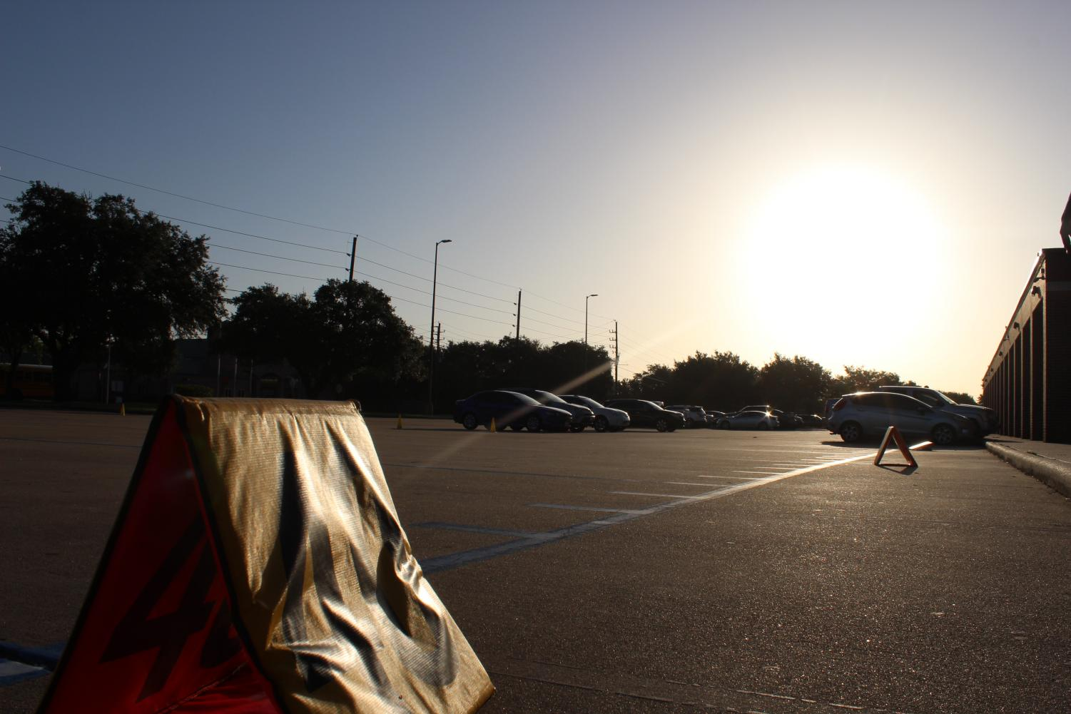 The Band Marching lot in the mornings after the band's daily stretches to get ready for the day.