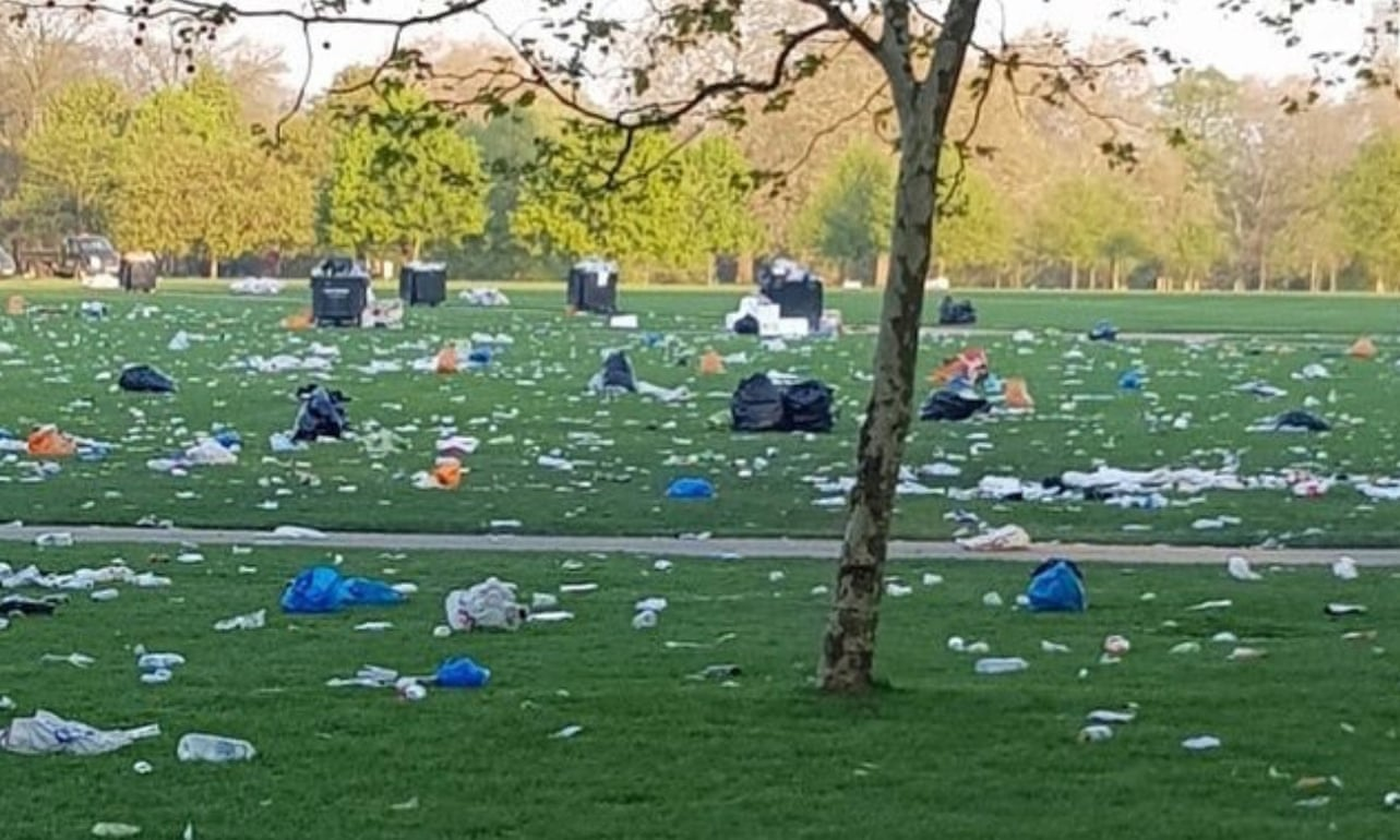 Hyde Park in London, UK after an unofficial event, taken by the Rose Parks administration.
