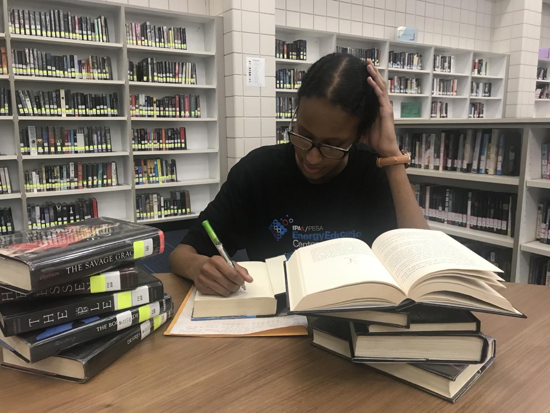 Ifraah Shegow stresses over her school work.