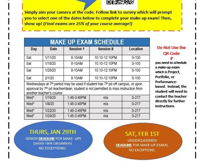 Westside Highschool Make-up Procedures for 2019 Fall Semester Exams!