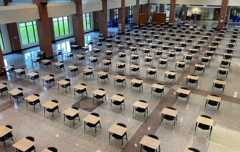 When staff and students return to Westside in October, they will find the Commons looking very different. Gone are the tables, replaced with desks, where students will wait in the morning, and freshmen will have lunch.