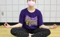 Senior Celeste Francis practices keeping clam and carrying on. Namaste
