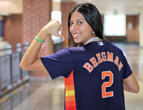 Gali Rocha, (12) reping her favorite Astros player.